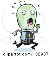 Royalty Free RF Clipart Illustration Of A Scared Running Alien by Cory Thoman