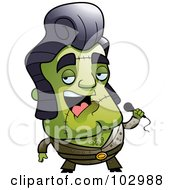 Royalty Free RF Clipart Illustration Of A Singing Frankenstein Elvis Impersonator by Cory Thoman
