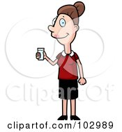 Royalty Free RF Clipart Illustration Of A Friendly Woman Holding A Glass Of Water by Cory Thoman