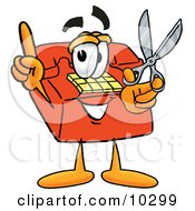 Clipart Picture Of A Red Telephone Mascot Cartoon Character Holding A Pair Of Scissors