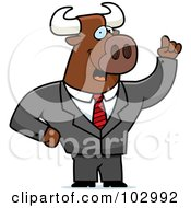 Royalty Free RF Clipart Illustration Of A Waving Bull Businessman by Cory Thoman