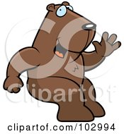 Royalty Free RF Clipart Illustration Of A Sitting And Waving Groundhog