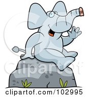 Royalty Free RF Clipart Illustration Of A Friendly Sitting Elephant Waving by Cory Thoman