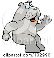 Royalty Free RF Clipart Illustration Of A Friendly Sitting Bulldog Waving by Cory Thoman