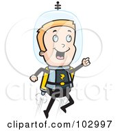 Royalty Free RF Clipart Illustration Of A Blond Space Man Using A Jetpack by Cory Thoman