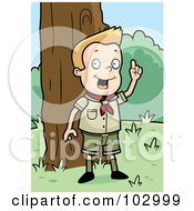 Royalty Free RF Clipart Illustration Of A Knowledgeable White Cub Scout Boy In The Woods