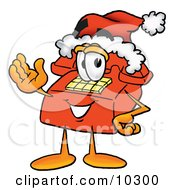 Clipart Picture Of A Red Telephone Mascot Cartoon Character Wearing A Santa Hat And Waving