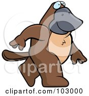 Royalty Free RF Clipart Illustration Of A Happy Platypus Walking by Cory Thoman
