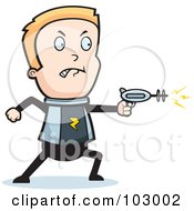 Royalty Free RF Clipart Illustration Of A Space Boy Using A Weapon by Cory Thoman