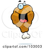 Royalty Free RF Clipart Illustration Of A Happy Chicken Drumstick