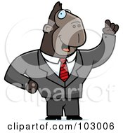 Royalty Free RF Clipart Illustration Of A Waving Ape Businessman by Cory Thoman