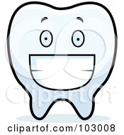Royalty Free RF Clipart Illustration Of A Grinning Tooth