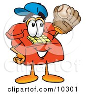 Clipart Picture Of A Red Telephone Mascot Cartoon Character Catching A Baseball With A Glove