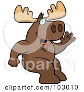 Royalty Free RF Clipart Illustration Of A Friendly Sitting Moose Waving by Cory Thoman