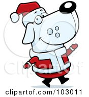 Royalty Free RF Clipart Illustration Of A White Christmas Dog In A Santa Suit