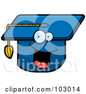Royalty Free RF Clipart Illustration Of A Happy Smiling Graduation Cap by Cory Thoman