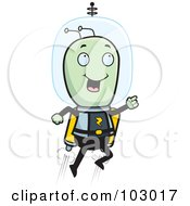Royalty Free RF Clipart Illustration Of A Space Alien Using A Jetpack by Cory Thoman