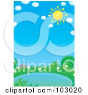 Royalty Free RF Clipart Illustration Of A Yellow Sun In The Sky With Puffy Clouds Over A Pond by Alex Bannykh