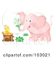 Royalty Free RF Clipart Illustration Of A Pink Airbrushed Elephant Giving Flowers To A Chick On A Stump by Alex Bannykh