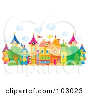 Royalty Free RF Clipart Illustration Of Puffy Clouds Above A Colorful Village