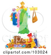 Royalty Free RF Clipart Illustration Of A Cat Walking On A Coat Rack Above A Sleeping Puppy by Alex Bannykh