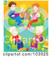 Illustration of a granny knitting in a living room with her family