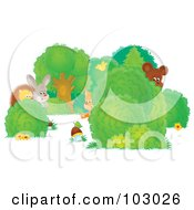 Royalty Free RF Clipart Illustration Of Shy Wild Animals Peeking Around Shrubs by Alex Bannykh