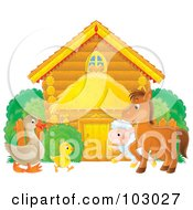 Royalty Free RF Clipart Illustration Of A Goose Chicken Lamb And Pony Outside A Log Barn