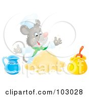 Royalty Free RF Clipart Illustration Of An Airbrushed Chef Mouse Making Dough by Alex Bannykh