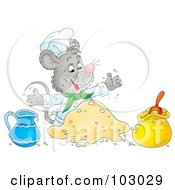 Royalty Free RF Clipart Illustration Of A Chef Mouse Making Dough by Alex Bannykh