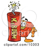 Clipart Picture Of A Red Telephone Mascot Cartoon Character Standing With A Lit Stick Of Dynamite
