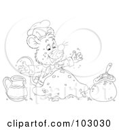 Royalty Free RF Clipart Illustration Of A Coloring Page Outline Of A Chef Mouse Making Dough by Alex Bannykh