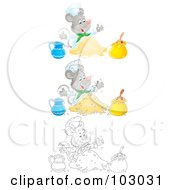 Royalty Free RF Clipart Illustration Of A Digital Collage Of A Chef Mouse Making Dough by Alex Bannykh