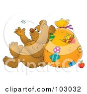 Royalty Free RF Clipart Illustration Of A Bear Leaning Against A Sack And Watching A Floating Feather by Alex Bannykh