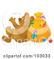Royalty Free RF Clipart Illustration Of An Airbrushed Bear Leaning Against A Sack And Watching A Floating Feather