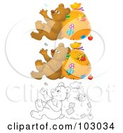 Royalty Free RF Clipart Illustration Of A Digital Collage Of A Bear Leaning Against A Sack And Watching A Floating Feather