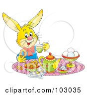 Royalty Free RF Clipart Illustration Of A Yellow Tea Time Rabbit