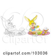 Royalty Free RF Clipart Illustration Of A Digital Collage Of A Tea Time Rabbit