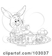 Royalty Free RF Clipart Illustration Of A Coloring Page Outline Of A Tea Time Rabbit