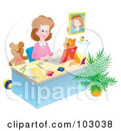 Royalty Free RF Clipart Illustration Of A Cat On A Desk Watching A Woman Work In Her Home Office