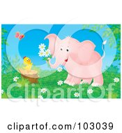 Royalty Free RF Clipart Illustration Of A Pink Elephant Holding Flowers By A Chick On A Stump