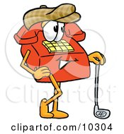 Clipart Picture Of A Red Telephone Mascot Cartoon Character Leaning On A Golf Club While Golfing