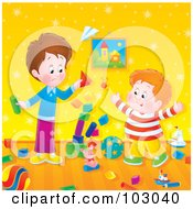 Royalty Free RF Clipart Illustration Of A Stack Of Blocks Falling While Two Boys Play by Alex Bannykh