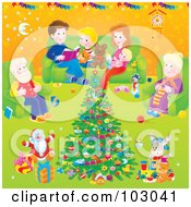 Royalty Free RF Clipart Illustration Of A Family Around A Christmas Tree In A Living Room by Alex Bannykh