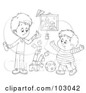 Royalty Free RF Clipart Illustration Of An Outline Of A Stack Of Blocks Tumbling While Two Boys Play