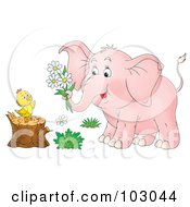 Royalty Free RF Clipart Illustration Of A Pink Elephant Giving Flowers To A Chick On A Stump