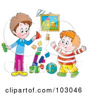 Royalty Free RF Clipart Illustration Of A Stack Of Blocks Tumbling While Two Boys Play