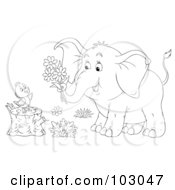 Royalty Free RF Clipart Illustration Of A Coloring Page Outline Of An Elephant Giving Flowers To A Chick On A Stump