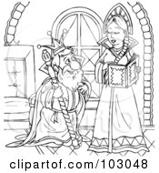 Royalty Free RF Clipart Illustration Of A Coloring Page Outline Of An Old King And Young Queen by Alex Bannykh
