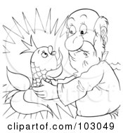 Royalty Free RF Clipart Illustration Of A Coloring Page Outline Of A Man Holding A Talking Fish